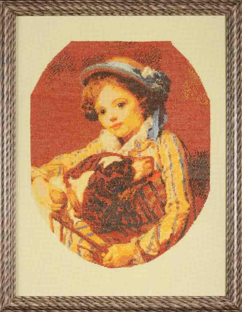 Вышитая картина девочка с собакой